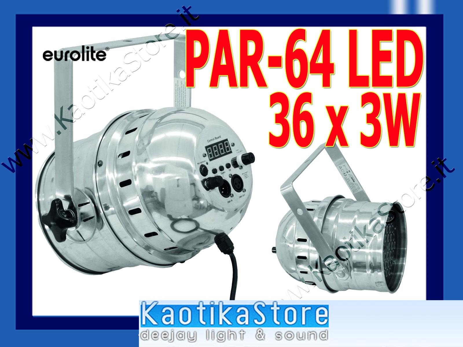Dettagli su FARO LED 36x3W PAR64 LED PAR 64 fari RGB luci PAR 64 luce