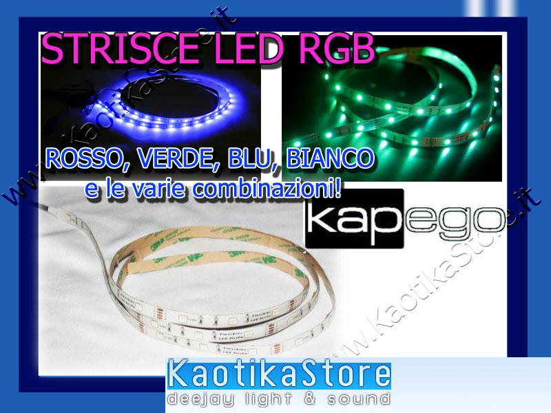 STRISCE LED STRIPES LED RGB rosso verde blu red green & blue strisce adesive flessibili per decoro arredo casa pub discoteca locali dj arredamento