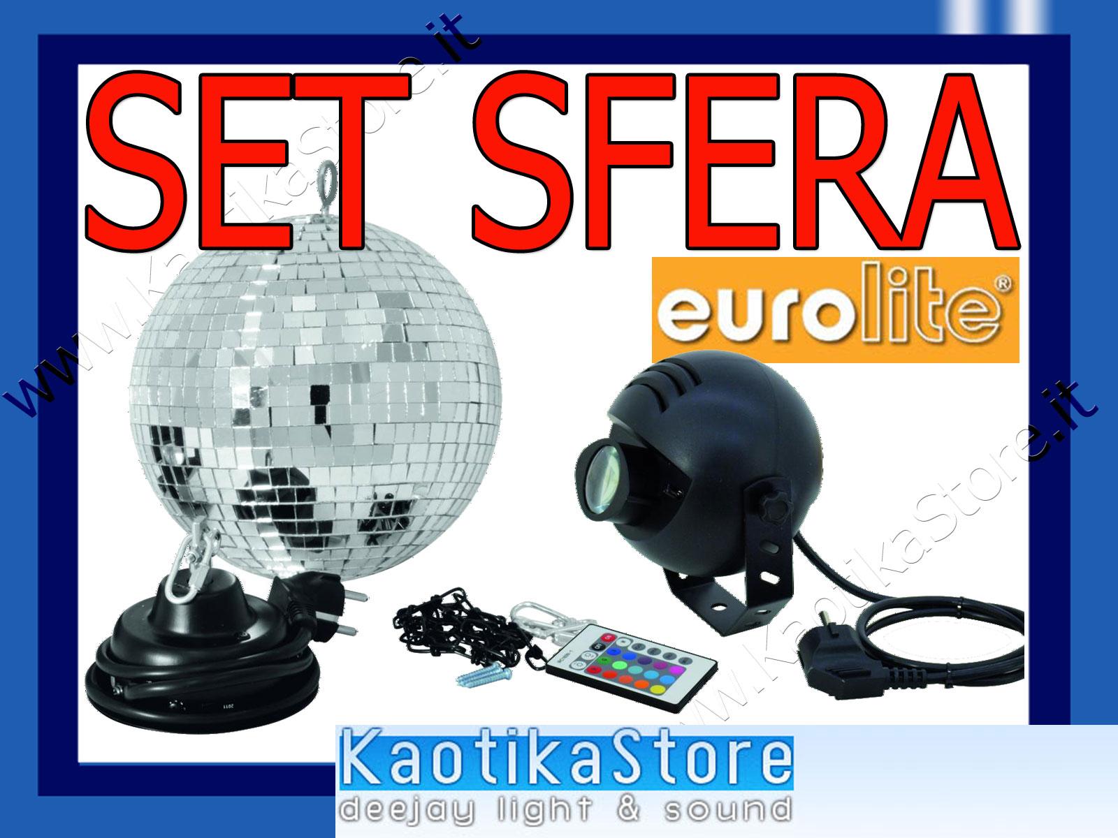 Set sfera specchiata 20cm motore faretto led rgb effetto - Specchi riflessi karaoke ...