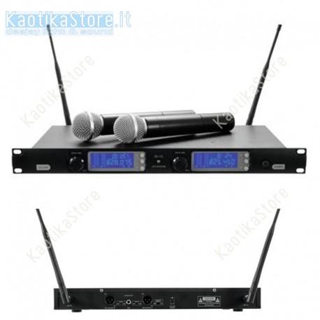 OMNITRONIC UHF-502 2-Channel wireless mic system 823-832 MHz set 2 radiomicrofono