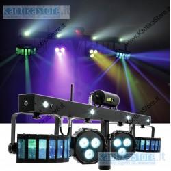 Prolights LUMI4COMBY Kit con 2 ParLED, 2 derby, strobo, laser, controller pedali, stand, borsa