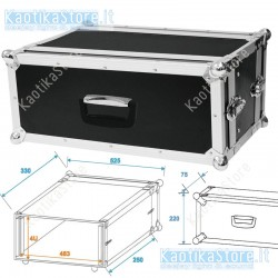 Roadinger Flightcase effect rack CO DD 4U 24cm deep black  4HE amplificazione radiomicrofoni finali