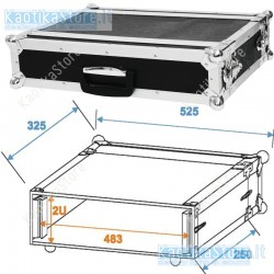 Roadinger Flightcase effect rack CO DD 2U 24cm deep black  2HE amplificazione radiomicrofoni finali
