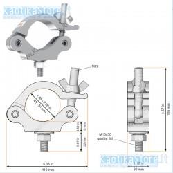 Gancio singolo aliscaf Global Truss Gancio per Truss Americane per sostegno max 200 KG per strutture 48-51 mm diametro