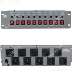 Showtec centralina luci pulsantiera 10 posti ciabatta con fusibili per singolo canale
