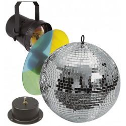 Set sfera specchiata 30cm incluso motore, faretto e ruota colori per discoteca e feste vintage club