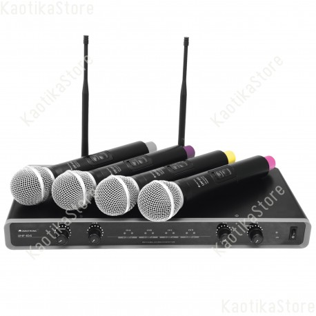 Omnitronic UHF-104 Wireless Mic System 823.5/825.3/863.1/864.1MHz Complete 4-channel UHF PLL microphone system