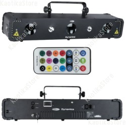 Showtec Dynamica 4-in-1 luce led + strobo + laser + UV controllabile in DMX e IR con telecomando incluso