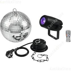 Set sfera specchiata 20cm incluso motore, faretto con telecomando RGBW quadricolore spot