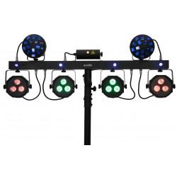 51741094 EUROLITE LED KLS laser bar FX light set sistema completo faretti spot UV mini mushroom LED ean 4026397684681