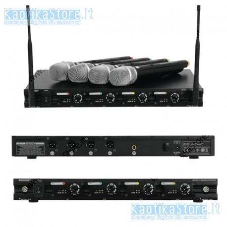 OMNITRONIC UHF-204 Wireless mic system 823-832MHz set 4 radiomicrofono 4 canali