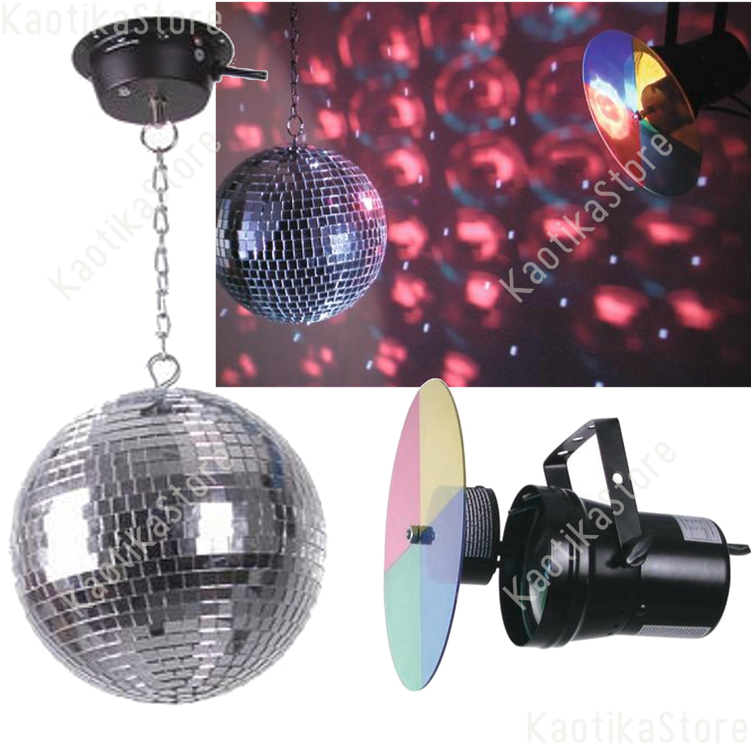 Palla sfera specchi dj 20cm motore faretto par36 ruota colori kaotikastore ebay - Specchi riflessi karaoke ...